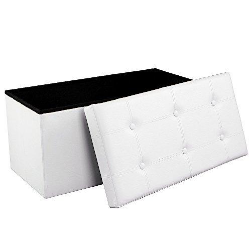 Songmics Faltbarer mit 80 L Stauraum, bis 300 kg belastbar, kunstleder, weiß, 76 x 38 x 38 cm