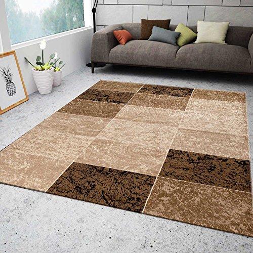 Teppich Wohnzimmer Kurzflor Modern Meliert Kariert Marmor Muster Braun Beige, VIMODA, 80x150 cm